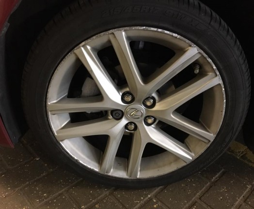 Badly repaired alloy wheel, Cambridge